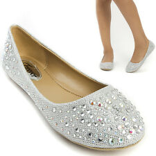 Silver Glitter Rhinestone Wedding Bridal Prom Party Ballerina Ballet Flat Shoes
