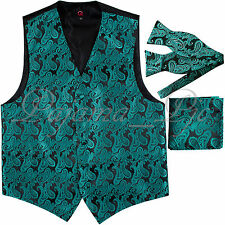 Green XS to 6XL Paisley Tuxedo Suit Vest Waistcoat & Selftie Bow tie Set Wedding