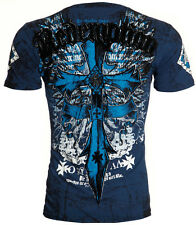 Archaic AFFLICTION Mens T-Shirt LOYALTY Cross Wings Tattoo Biker UFC M-4XL $40 b