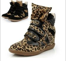 Leather Leopard Womens Hidden Wedge BootsHorsehair High Top Strap Sneakers Shoes