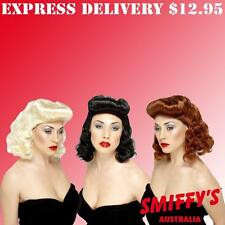 ADULTS WOMENS 1940S/50S VINTAGE PIN UP GIRL WIG SMIFFYS FANCY DRESS COSTUMES