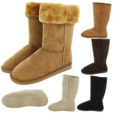Womens Boots Fur Faux Suede Mid Calf Fashion Winter Warm Sheepskin Snow Shoes