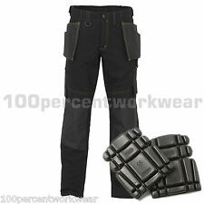 JCB CHEADLE TRADE Mens Cargo Black Work Trousers Pants Tool Pockets + KNEE PADS