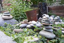 Stacked Natural Stones/Rocks Gray White Frog Round Zen Paperweight Statue Cairn