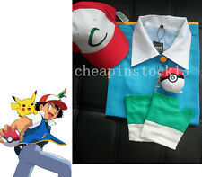 Pokemon Ash Ketchum Trainer Costume Cosplay Jacket+Gloves+Hat+Pokeball S-2XL