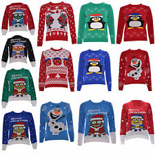 Kids Unisex Children Girls Boys Knitted Christmas Xmas Aztec Jumper Sweater Top