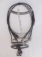 New Beautiful Three Row Crystal Chain Dressage Bridle  with Leather Rein LDB-07