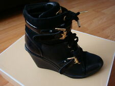 NIB Michael KORS SKID SEXY GOLD LOGO BUCKLE LACE UP WEDGE SNEAKERS SHOES BOOTIES