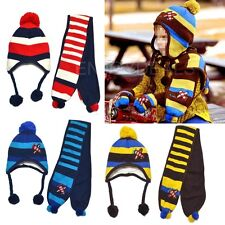 Cool New Fashion Cute Kids Winter Warm Hat Children Cap and Scarf 2 in 1 Set