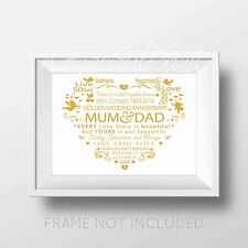 Personalised Mum Dad Parents In-laws 50th Golden Anniversary Word Print + Card