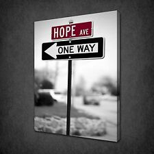 HOPE AVENUE RETRO ROAD SIGN CANVAS PRINT PICTURE POSTER WALL ART FREE UK P&P