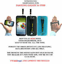 NEW! Samsung Galaxy S4 TPU Case With Unique Duo Hand & Neck Straps - Black-Blue