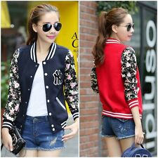 New Fashion Womens Baseball Uniforms Floral Casual Coat Fleece Jacket Cardigan