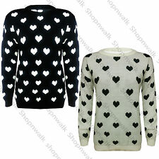 NEW WOMENS LADIES LOVE HEART PRINT WARM LONG SLEEVES KNITTED PATTERN JUMPER TOP