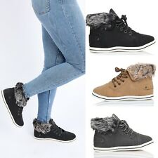 NEW WOMENS HIGH TOP CASUAL TRAINERS FLAT LACE UP PUMPS LADIES SHOE SIZE 3-8
