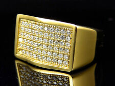 Iced Out Men Simulated Lab Diamond Block Style Ring In Yellow Gold Steel (13mm)