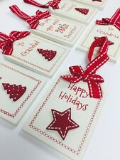 Christmas Wooden Cream & Red Gift Tag 9 Designs You Choose tree star red ribbon