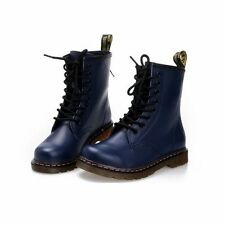 Hot Sale Leather Lace Up Flat Women's Combat Military Ankle Boots Shoes 5 Color
