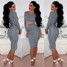 Long sleeve Houndstooth Women's Bodycon Sexy Club party Dress suit D413 3size