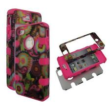 Hybrid 3 / 1 Pink Multi Paisley Apple Iphone 4 , 4S , 4G Cover Case