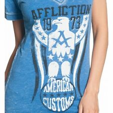AFFLICTION Womens T-Shirt FREEDOM RING American Customs Fighter Biker Sinful S-L