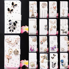 White crystal Wallet Leather Flip Cover for Various Model Motorola cell phone