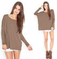 NWT Bamboo Piko Mocha Light Brown Long Sleeve T-Shirt Loose Boat Neck Soft