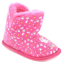 Girls Size 4 - 10 PEPPA PIG Pink Bootee Slippers NEW Boots Infants