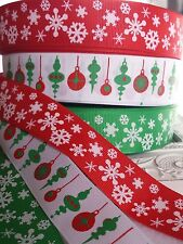 25mm Christmas Snowflake or Bauble Grosgrain Ribbon. Gift / cake wrap. Craft