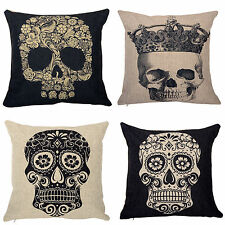 Punk Skull Vintage Cotton Linen Throw Case Sofa Home Decor Cushion Pillow Cover