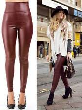 Burgundy Wine Red Faux Leather High Ox Blood Waisted Stretch Leggings Pants NWT