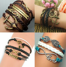 Leather Infinity rope Love Anchor owl Charm beaded Bracelet DIY adjustable TR8