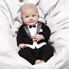 Cute 1-5Y Kids Baby Romper Cotton Gentleman Jumpsuit Custome Clothes Outfit Set