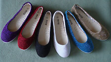 Women Casual Canvas Slip On Round Toe Ballet Flat Shoes Ballerina Slipper Flower