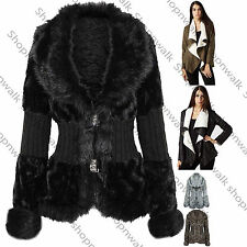 New Womens Ladies Faux Fur Knitted Winter Twin Clasp Jacket Fluffy Cardigan Coat