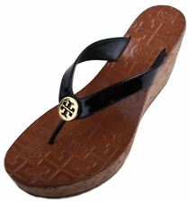 Tory Burch Thora Wedge Womens Black Patent Leather Thong Sandals