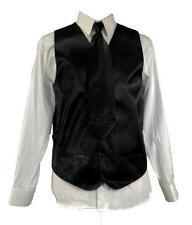 Men's Suit Satin Tuxedo Black Dress Vest Necktie Bowtie Hanky 4 Pc Set VS-801