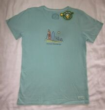 LIFE IS GOOD Kayak Bike Hike Surfboard Volleyball Aqua SS T Shirt Tee NWT Womens