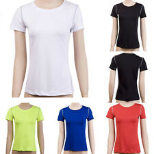 Women Sports Compression Pro Base Layer Short Sleeve T-Shirt Athletic Tights Top