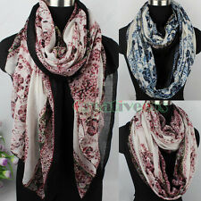 Fashion Women Lady Tribal Style Flower&Circle Print Soft Long/Infinity Scarf New
