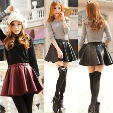 Women Mini Skirt Faux Leather High Waist Skater Flared Pleated Short Skirt