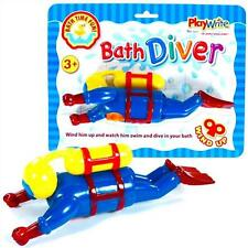 BATH TIME CLOCKWORK WIND UP LARGE SWIMMING DIVER ~ CLASSIC TOY FOR BATH FUN!