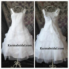 NEW Flower Girl Wedding Pageant Party Bridesmaid Dress Wears White SZ 10-16