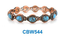 Turquoise Gemstone - Women Copper link high power magnetic bracelet CBW544