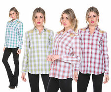 Women Casual Button Down Lapel Plaids Shirt & Checks Flannel Shirts Tops Blouse
