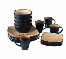 Dinnerware Set 16-Piece Soho Lounge Square  Plates Dishes, Microsafe, Dinner
