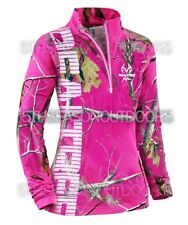 Ladies Realtree APC Pink Camo 1/4 Zip Pullover Jacket Shirt