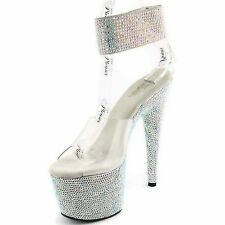 PLEASER Sexy Rhinestones Stripper Platform Ankle Cuff BEJEWELED-712RS Silver