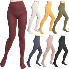 Women Lady Winter Warm Color Flat Knit Sweater Footed  Cotton Full Foot Tights