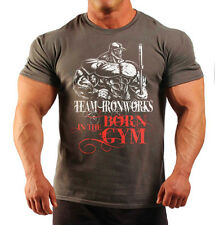 BORN IN THE GYM CHARCOAL BODYBUILDING T-SHIRT WORKOUT GYM CLOTHING